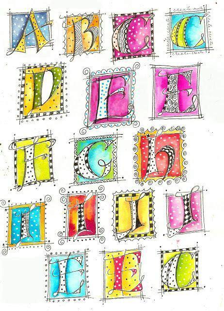 Water Doodle Alphabet Card letras lindas para tu libro de fotos decorar cuadernos