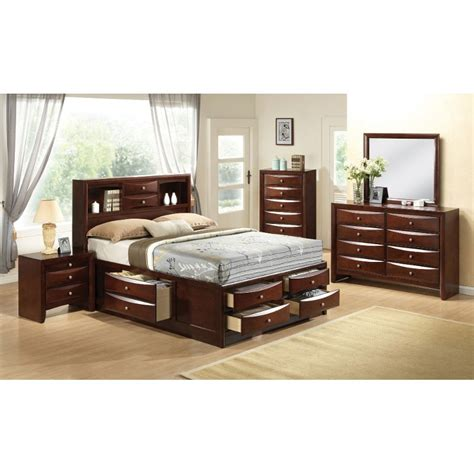 queen storage bedroom set emily 7 piece queen bedroom set
