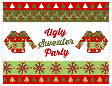 printable ugly christmas sweater free ugly sweater party printables catch my party