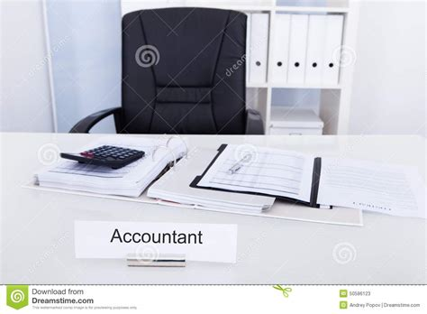 Name On Desk by Accountant Name Plate On Desk Stock Photo Image 50586123