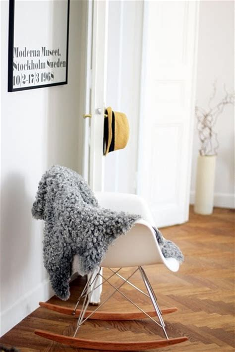 sheepskin throw for rocking chair just ordered an eames inspired rocking chair woohoo