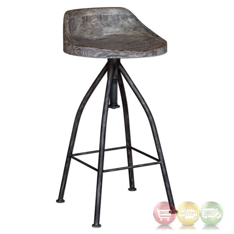 Rustic Wood And Iron Bar Stools by Kairu Rustic Wood Iron Bar Stool With Industrial Swivel