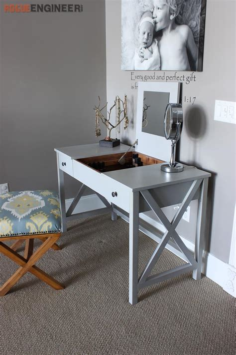 Diy Vanity Desk Flip Top Vanity Free Diy Plans Rogue Engineer