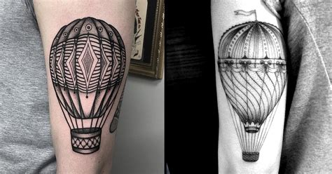 tattoo hot compress take a flight with these blackwork hot air balloon tattoos
