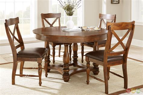 wyndham rustic 54 quot birch dining table in medium cherry