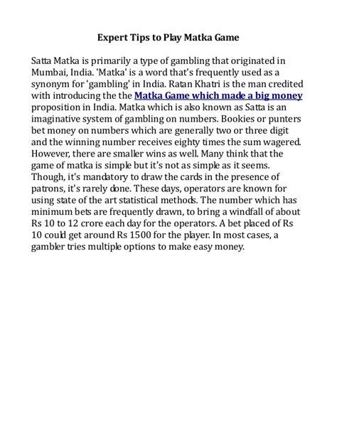 sata mattka final expert tips to play matka game