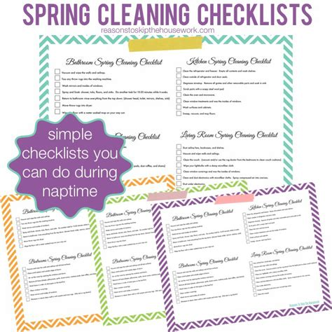 spring cleaning checklist printable spring cleaning printables reasons to skip the housework