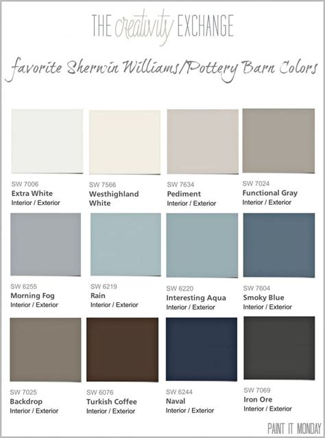 sw colors 53 best pottery barn paint collection images on pinterest