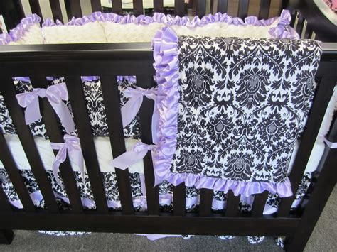 Black Damask Minky With Lavender Baby Bedding Set 4 Piece Purple And Black Crib Bedding
