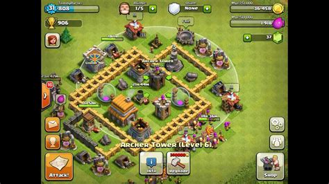 basic layout building guide clash of clans clash of clans basic base defence layout youtube