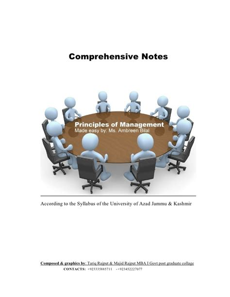 Mba Principles Of Management by Principles Of Management Lecture Notes For Mba