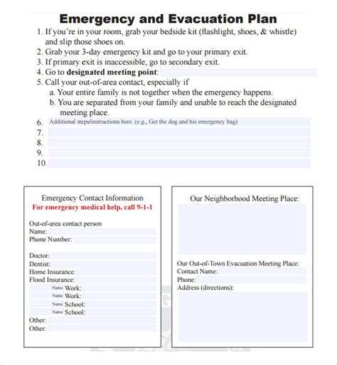 emergency evacuation template sle evacuation plan template 9 free documents in pdf