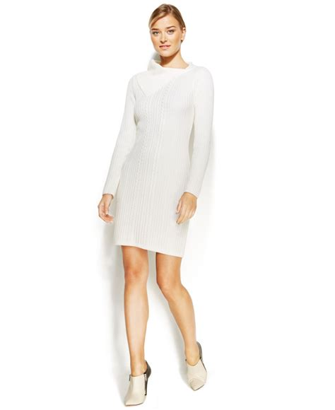 white cable knit sweater dress calvin klein cable knit sweater dress in white lyst