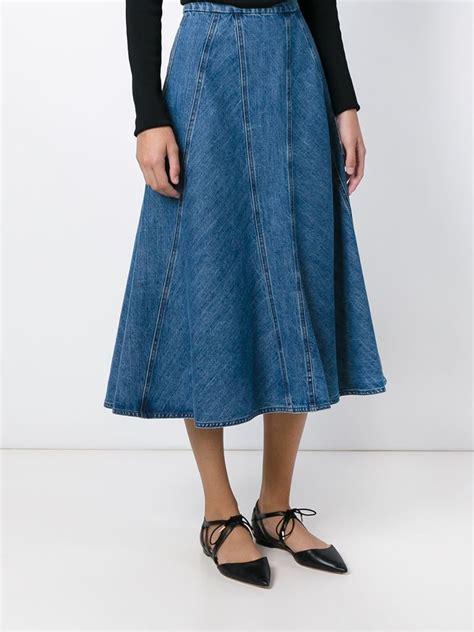 michael kors panelled flared denim skirt in blue lyst