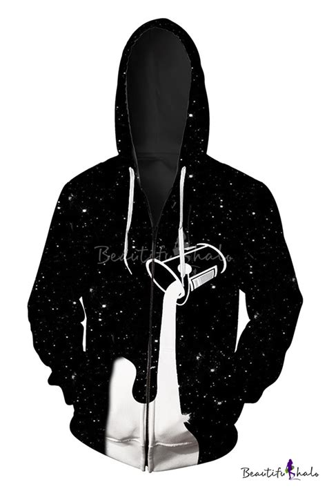 pattern zip up hoodie fashion digital dropped milk pattern long sleeve loose