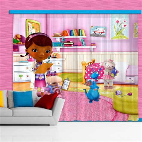 doc mcstuffin curtains doc mcstuffins and her stuffed animals mural curtains