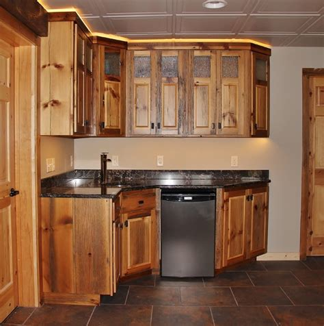basement kitchen cabinets barn wood kitchenette rustic basement minneapolis by backwoods designs llc