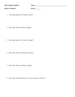 mole particle practice worksheet