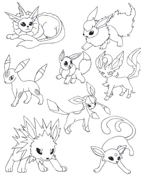 pokemon eevee evolutions coloring pages all art