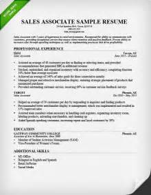 Sale Resume Exles by Retail Sales Associate Resume Sle Writing Guide Rg