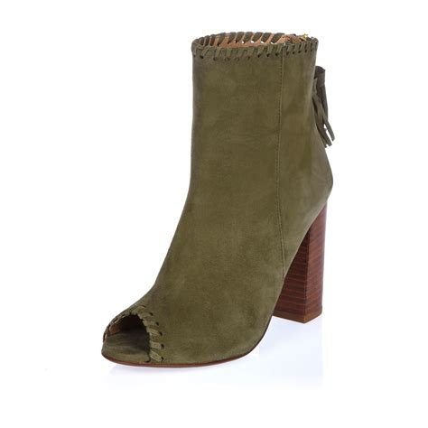 shoe boot lyst river island khaki suede peep toe shoe boot in