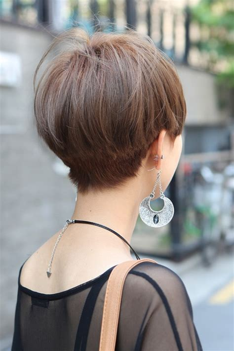 male asian hairestyles front and back veiws short straight haircut for asian women back view of