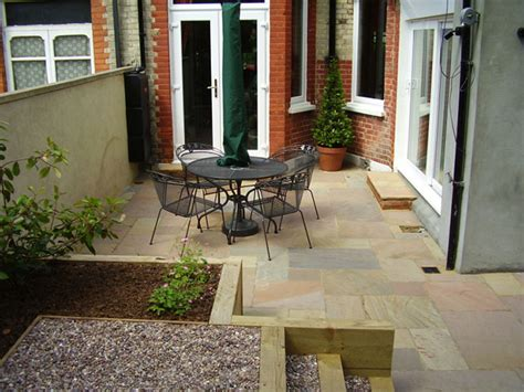 Split Level Home Designs Shady Low Maintenance Garden On Two Levels