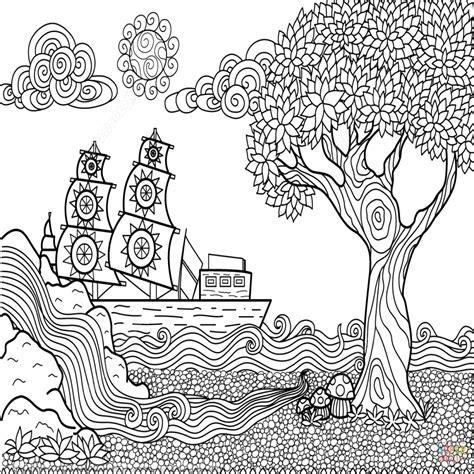 dibujos para colorear paisajes dibujo de paisaje marino zentangle para colorear dibujos