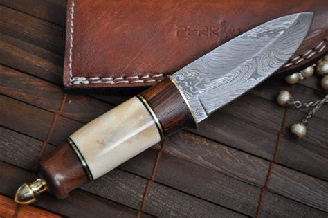 Handmade Bushcraft Knife - custom damascus knife bushcraft knife