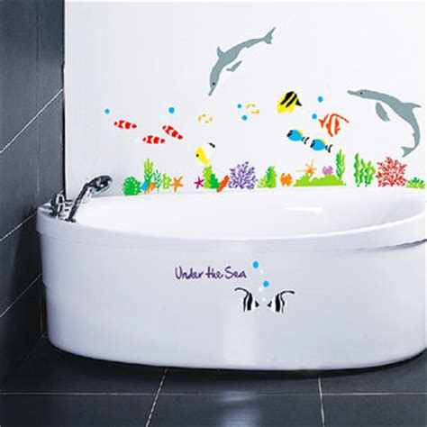 fish bathroom decor vinyl dolphin and fish wall stickers the sea