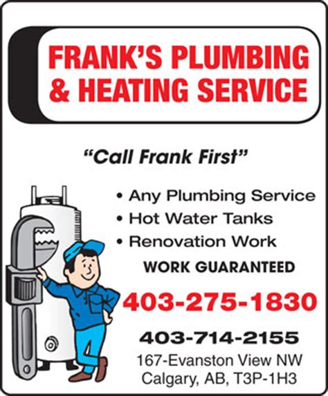 Ab Plumbing Calgary by Frank S Plumbing Heating Ltd In Calgary Yellowpages Ca