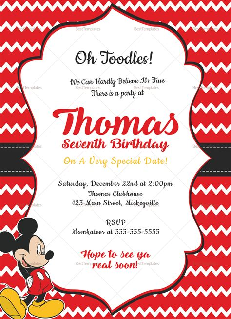 editable mickey mouse birthday invitation card design