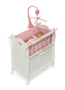 badger basket white doll crib with cabinet