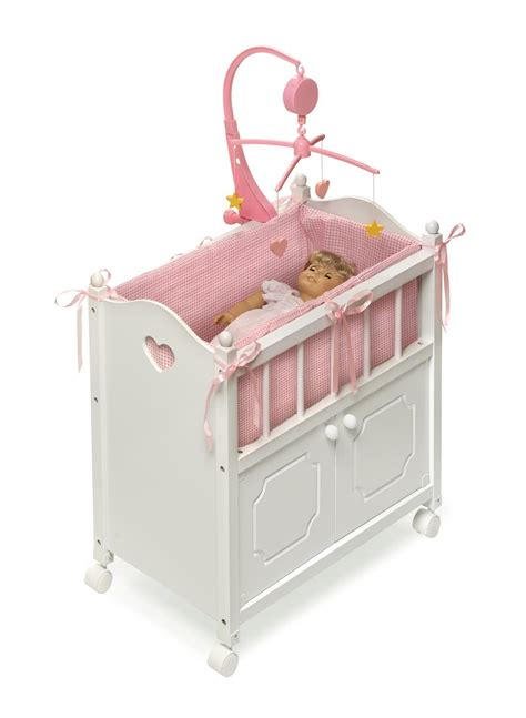 Crib With Mobile by Badger Basket White Doll Crib With Cabinet Bedding Mobile Wheels Fits American