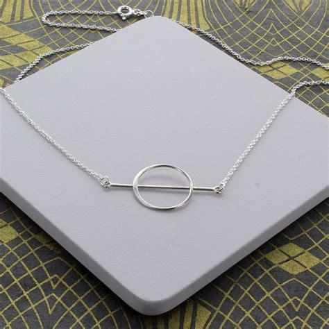 Profile Design Bar Karbon Wrap Silver circle and bar minimal necklace by designs notonthehighstreet