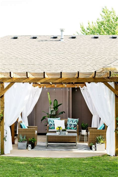 make your own outdoor curtains pergola curtains a beautiful mess outdoors pinterest