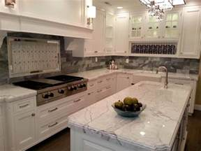 White Backsplash Kitchen by Charming White Granite Countertops For Elegant Kitchen