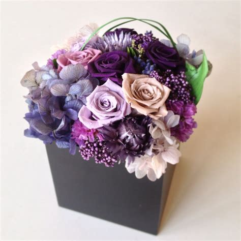 Bloom Box Big Black Preserved Flower purple 215 blue preserved flower arrangement box m