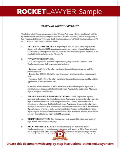 Agency Agreement Letter Format Staffing Agency Agreement Staffing Agency Contract Template With Sle