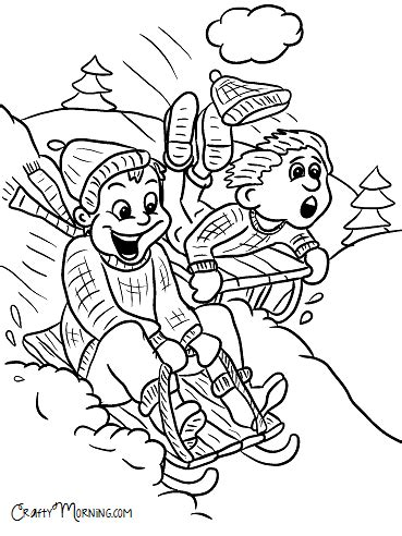 sledding coloring page dog sledding down hill free printable winter coloring pages for kids crafty morning