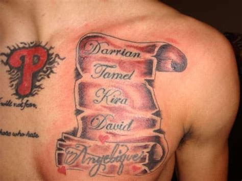 name tattoos on chest for men family tattoos for ideas and inspiration for guys