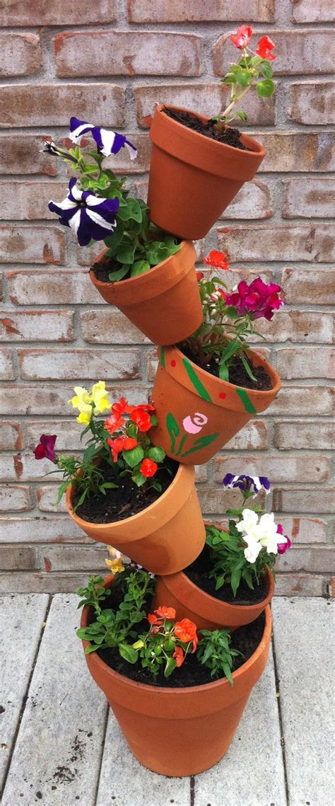 Garden Pot Ideas Flower Pot Tower I Made For The Home Pinterest Flower Pots Flower And Ideas