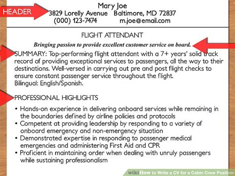 cabin manager description how to write a cv for a cabin crew position with pictures