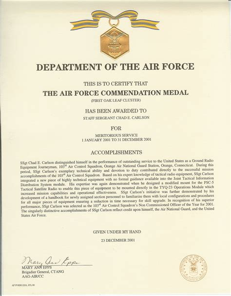 Air Force Commendation Medal Citation Examples   Review Ebooks