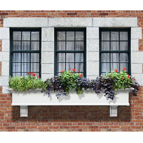 white vinyl window boxes mayne 12 in x 72 in vinyl window box 4826w