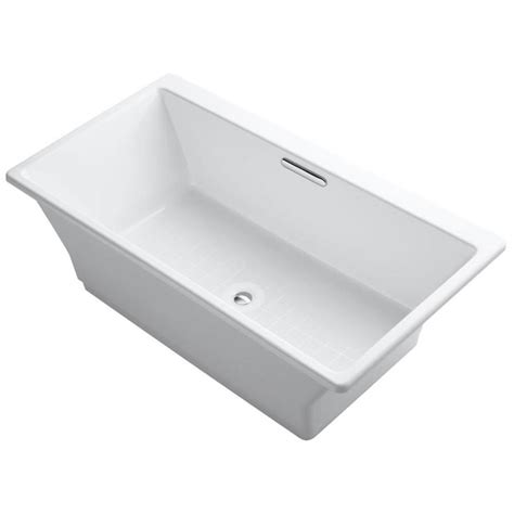 kohler bathtubs cast iron shop kohler rve white cast iron rectangular freestanding