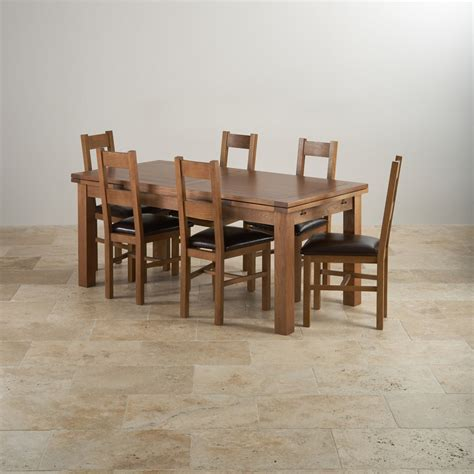 Farmhouse Dining Table And 6 Chairs Rustic Oak Dining Set 6ft Table With 6 Chairs