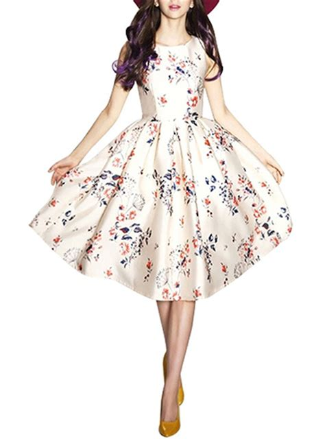 Summer Flare Dress vintage summer midi dress floral white