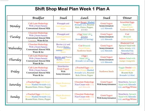 insanity workout meal plan week 1 workouts building