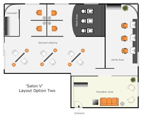 Floor Plan Of A Salon hair salon layout option 2